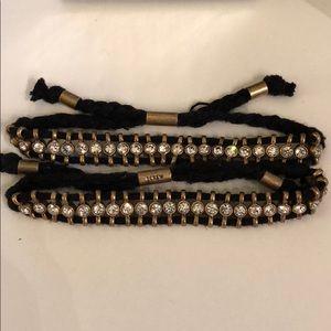 J. Crew Jewelry - 💥J.CREW 2 ADJUSTABLE BLACK & SPARKLE BRACELETS